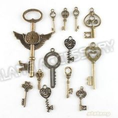 Online Shop Free Shipping 78pcs/lot Mixed Key Charms Antique Bronze Plated Alloy Pendant Jewelry Findings 142738|Aliexpress Mobile
