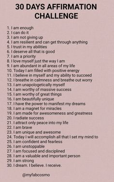 Positive Affirmations Quotes, Self Love Affirmations, Affirmation Quotes, 30 Day Challenge Journal, Love Challenge, Manifestation Meditation, Manifestation Journal, Self Confidence Tips, Journal Writing Prompts