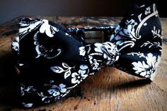 black and white floral bow tie