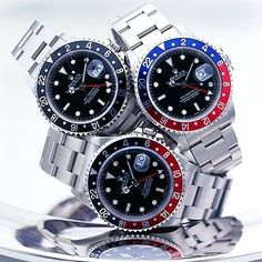 A gaggle of Rolex GMT Master II http://www.thesterlingsilver.com/product/rotary-timepieces-mens-quartz-watch-with-black-dial-chronograph-display-and-silver-stainless-steel-bracelet/