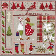 Broderie toile imprimée Décembre création Cécile Vessière Royal Paris 6477.12 - La Maison du Canevas et de la Broderie