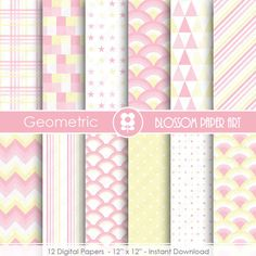 Pink Digital Paper Baby Girl Digital Papers Geometric Scrapbooking Paper Pack Light Pink and Yellow Papers - INSTANT DOWNLOAD - 1838 #BabyScrapbookIdeas #BabyScrapbook #BabyGirl #DigitalPaper #ScrapbookPaper scrapbook paper digital geometric digital background digital scrapbook digital paper light pink pink digital paper baby girl baby digital paper baby shower digital paper baby 3.00 USD