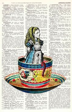 Alice in wonderland- Alice in a tea cup- Mad hatter tea party - Alice in Wonderland by PRRINT  <3 <3