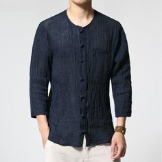 Cheap shirt casual men, Buy Quality linen shirt directly from China shirt casual Suppliers: SHAN BAO brand autumn new men's thin section pure color linen shirt luxury high quality fold seven sleeves shirt casual men Casual Shirts For Men, Men Casual, Casual Outfits, Chinese Shirt, Mens Vintage Shirts, Love Clothing, Shirt Style, Pure Products