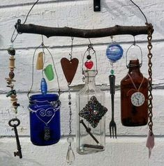 Made when ordered Bottle Chime/Vintage Bottles by creationdesigns crafts diy wind chimes Old Bottles, Vintage Bottles, Altered Bottles, Beer Bottles, Antique Bottles, Vintage Perfume, Antique Glass, Perfume Bottles, Fun Crafts