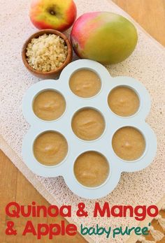 Simple, healthy and tasty baby recipe: quinoa, mango & apple baby puree'.  #babyfood
