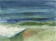 August- PRINT of Original - Oceanscape Watercolor & Colored Pencil, 9x12 inches