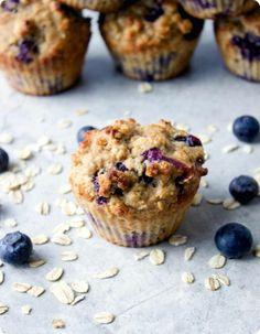 Blueberry Oatmeal Muffins made with Greek Yogurt.