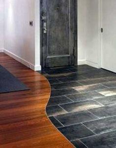 Marble Tiles Meeting The Wooden Floor 25 Entryway Flooring, Living Room Flooring, Wooden Flooring, Kitchen Flooring, Hardwood Floors, Tile Wood, Concrete Kitchen, Tile To Wood Transition, Transition Flooring