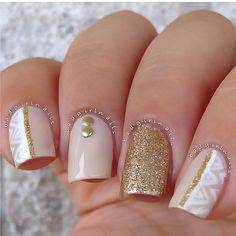 Gold, white, nude & aztec patterned - Instagram media by badgirlnails #nail #nails #nailart...x