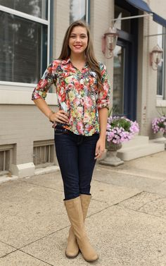 Flourishing Button Up Top at Dress and Dwell - Good things for you and your home. This floral top is a button up and super cute!