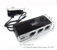 Car Cigarette Socket Splitter Triple Port+One USB Port DC Power Adapter Splitter