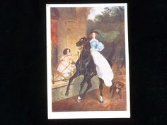 Vintage Postcard The Horsewoman, Vintage Postcard, Collectible Art Postcard, Vintage Russian Postcard, Mixed Media, Decoupage, Karl Bryullov by MuskRoseVintage on Etsy