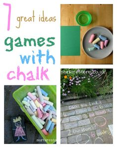 Great ideas for creating art, games, math, literacy, action games and puppets with chalk. Activity Games, Fun Games, Games For Kids, Art For Kids, Crafts For Kids, Children Games, Math Games, Summer Activities, Toddler Activities