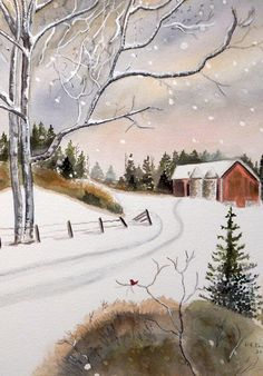 Snow Impressionistic Traditional Art, Winter Barn, An Original Watercolor Painting. Size 12x16 Unframed.