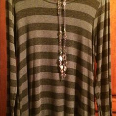 """Selling this """"NEW Adorable Olive Green striped Tunic!!"""" in my Poshmark closet! My username is: rchl62. #shopmycloset #poshmark #fashion #shopping #style #forsale #Tops"""