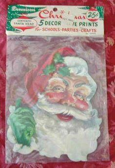Five Wonderful Vintage Christmas Dennison Santa Head Die Cuts Mint in Package | eBay