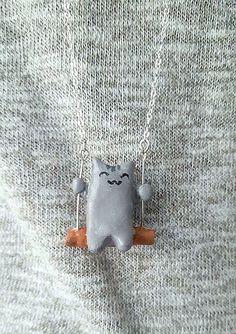 Weihnachtsgeschenk Kette Katze Fimo Schmuck Geschenk von LuSinGa