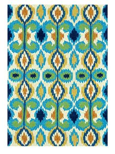 Loloi Enzo Ikat Indoor/Outdoor Area Rug - Ivory/Blue, 8 X 8 Round Indoor Outdoor Area Rugs, Indoor Outdoor Rugs, Outdoor Living, Outdoor Spaces, Outdoor Life, Polyester Rugs, Textiles, Textile Patterns, Contemporary Area Rugs