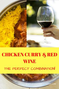 The Best of Both Worlds! Food and Wine in this Fantastic Chicken Curry and Red Wine Recipe AMAZING, straight forward recipe if you have all your prep done! Curry Recipes, Veggie Recipes, Wine Recipes, Healthy Dinner Recipes, Curry Dishes, South African Recipes, Tasty, Yummy Food, Chicken Curry