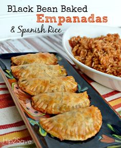 Black bean empanadas using pie crusts! And an easy Spanish rice--by Lina Darnell for Hip2Save.  Wonderful meatless meal