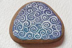 White swirly dot on blue  purple sea pottery by ShePaintsSeaglass, $5.00