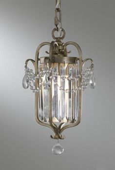 The Light Brothers in Lombard, Illinois, United States, Murray Feiss CH41, One Light Gold Framed Glass Foyer Hall Fixture, Gianna, Gilded Silver