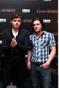 Those Stark boys!! Brunette and bearded..just my type!! Richard Madden and Kit Harington