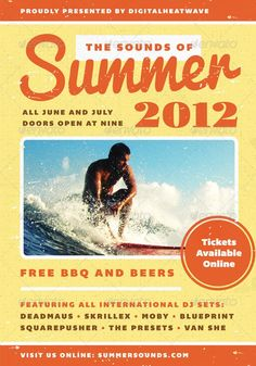 Buy Summer Sound - Summer Flyer Template by furnace on GraphicRiver. Flyer Design Templates, Print Templates, Psd Templates, Print Design, Logo Design, Graphic Design, Concert Flyer, Presentation Design Template, Club Parties