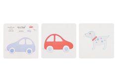 Wandsticker mit schönen Motiven von isle of dogs. Jeweils drei selbstklebende Sticker mit drei verschiedene Motiven sind ein Set. Motivset: Ringelshirt blau & Segelboot &...