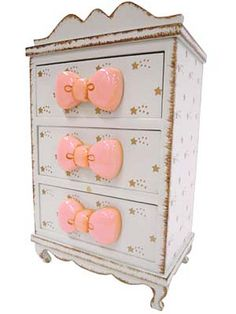 Mini Chest of Drawers with Bow Knobs by zakka brand Swimmer - swimmer.co.jp