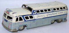 Vintage Tin Litho Friction Powered Greyhound Lines Scenicruiser Coach Bus, Japan