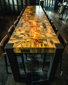 The Mosaic Table is a commission for restaurant at 15 York Street in downtown Toronto. The fourteen foot communal table is composed of antique hemlock that was buried below York Street for over a century as a part of the historic Conner's Wharf.