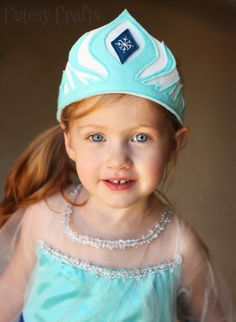 Make a pretty felt crown for your little princess with this free Elsa crown template and tutorial. Easy to make and fun for dress up!