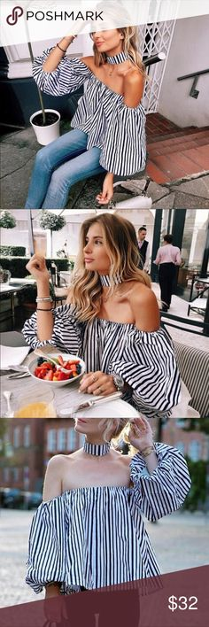 """Black & White Off Shoulder Blouse Black & White Off Shoulder Blouse with lantern sleeves.  Perfect for summer!  Comes with matching choker      Length:       Small: 15.3""""      Medium: 15 3/4""""      Large: 16"""" Beach Wave Tops"""