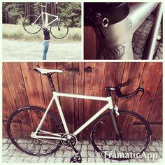 My boyfrend's #ultralight bike #fixedgear #bike #fixie #trackbike #diy #cinnellimash #bikemielec #carbonfork #carbonhandlebar