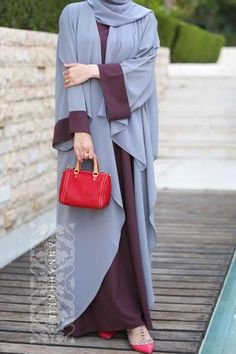 Open front abaya and slip dress stitched together to create a beautiful piece of clothing www.annahariri.com