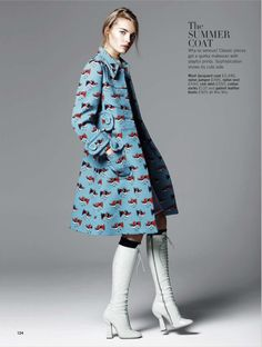 Adorable Miu Miu coat paired with sexy Miu Miu boots. Masterful styling! - This Dolce and Gabbana silk-crepê blouse is stunning. I'd pair it with a different skirt or pant though - Model: Astrid Eika   Stylist: Karen Preston   Photographer: Walter Chin - for Glamour UK February 2014