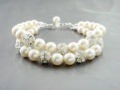 Wedding Jewelry Bracelet, Layered Double Strand Pearl and Rhinestone Crystal…