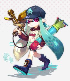 1girl baseball_cap baseball_uniform bike_shorts blue_hair boots copyright_name hat hoodie inkling long_hair long_sleeves pointy_ears solo splatoon sportswear squid tentacle_hair torpedo violet_eyes weapon