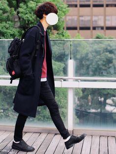 ニット×ストライプシャツ🏡 前回に引き続きオーバーコート🦆 ■着用サイズ■ coat → L