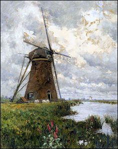 """""""In Windmill Land,"""" George Hitchcock, oil on canvas, 44 x Heckscher Museum of Art. Seascape Paintings, Landscape Paintings, Landscapes, Picasso Cubism, Pablo Picasso, Netherlands Windmills, Windmill Art, Landscape Concept, China Painting"""