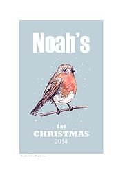 Little Robin (blue) personalised fine art print (Baby's First Christmas)