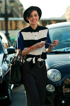 ANNE-CATHERINE FREY  Junior Stylist, The Kooples  http://annecatherinefrey.blogspot.com    Outfit 1:  -American Apparel Shirt  -Tommy Hilfiger Shorts  -Alexander Wang Devere Bag  -Underground Creepers Shoes  -Balenciaga Bracelet  -Hermès Bracelet