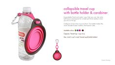 collapsible dog bowl with bottle holder that attaches to the leash