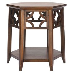 Hexagonal end table with a latticed apron.Product: End table    Construction Material: Solid wood veneer