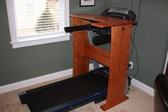Custom-made solid cherry treadmill desk Treadmill Desk, Contemporary Desk, Workout Rooms, Home Projects, Office Desk, Diy Furniture, Sweet Home, Desk Ideas, Cool Stuff