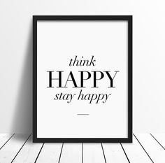 $14 - Click for GET ONE FREE Promotion (Coupon Code: GETFREE) Think Happy inspirational poster, life quote, wall decor, mottos, weekend, motivational, home decor, handwriting, print art, typography art by mottosprint on Etsy