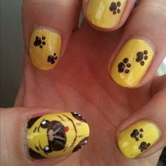Pug nails by sammystaines Nail Art Gallery nailartgallery.na by Nails Magaz - Pug nails by sammystaines Nail Art Gallery nailartgallery.na by Nails Magaz - Funky Nail Art, Colorful Nail Art, Funky Nails, Cute Nails, Dog Nail Art, Animal Nail Art, Dog Nails, Yellow Nails Design, Yellow Nail Art