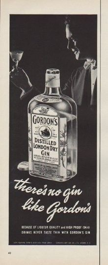 "1952 GORDON'S GIN vintage print advertisement ""no gin"" -- there's no gin like Gordon's ... because of liqueur quality and high proof ... drinks never taste thin with Gordon's Gin -- Size: The dimensions of the half-page advertisement are approximately 5.25 inches x 14 inches (13.25 cm x 35.5 cm). Condition: This original vintage half-page advertisement is in Excellent Condition unless otherwise noted ()."